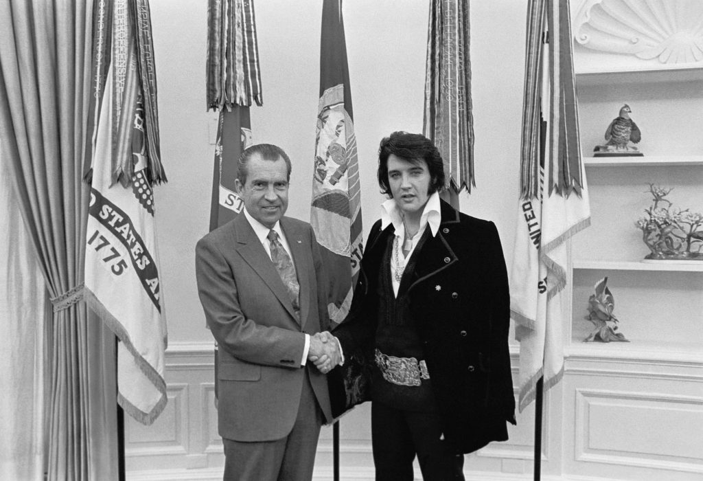 Rock star Elvis Presley and U.S. President Richard Nixon meet at the White House