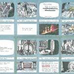 Image of storyboards from the scifi movie Alien by Ridley Scott