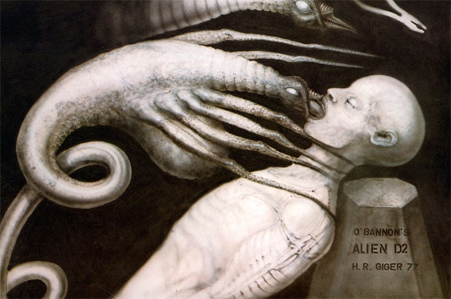 Depiction of facehugger and urn by H.R. Giger, from Alien script