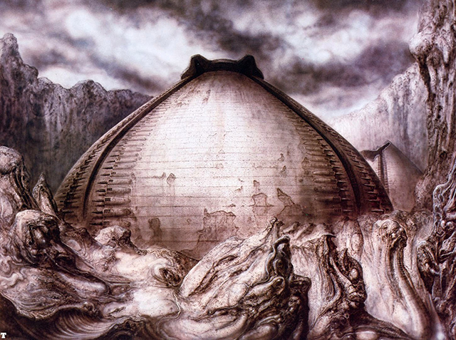 Image of the pyramid structure from the sci-fi movie Alien, drawn by H.R. Giger