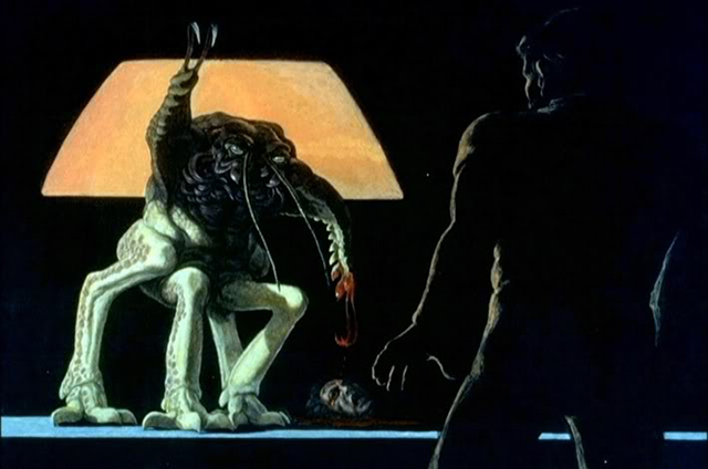 A concept drawing for the sci-fi movie Alien, by Ron Cobb