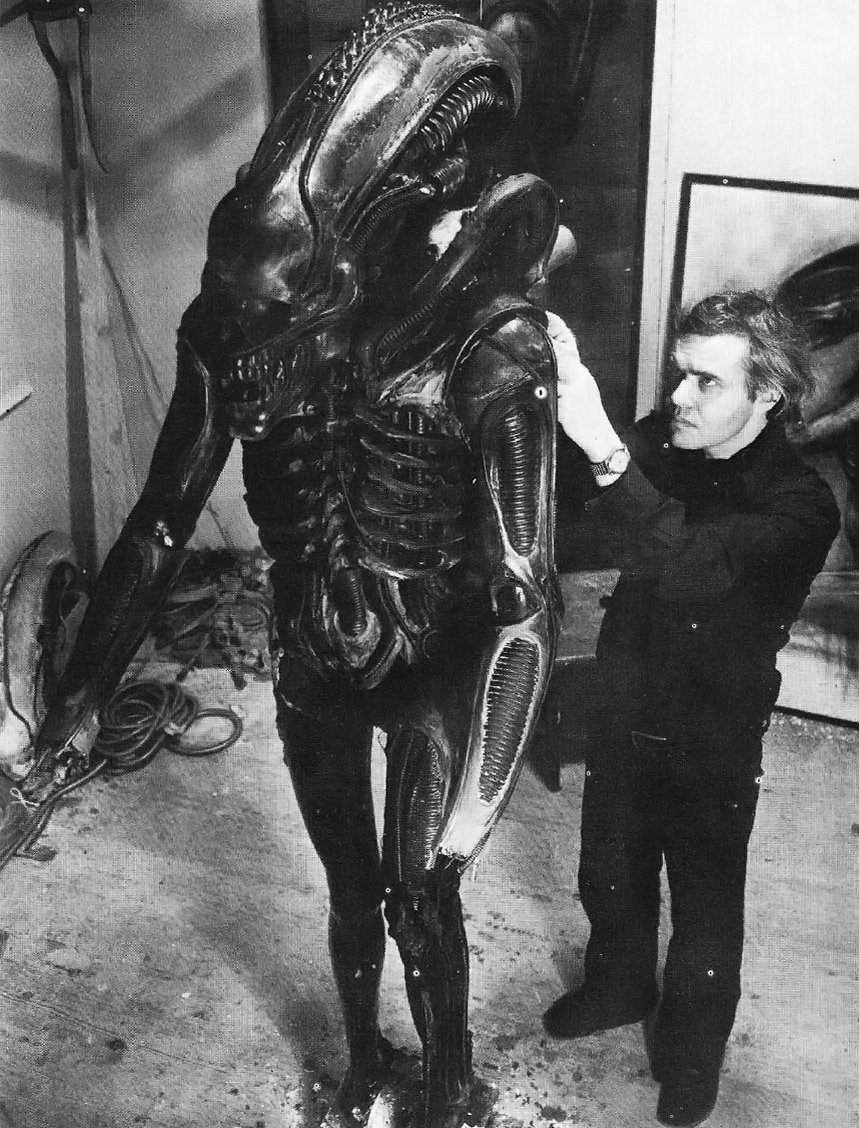 H.R. Giger, working on the suit for the sci-fi film Alien
