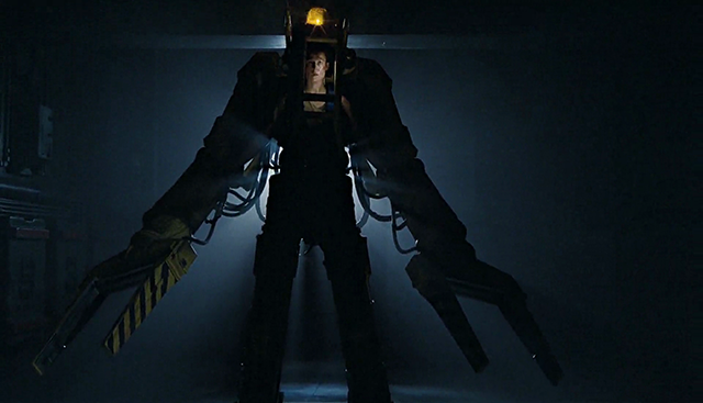 Sigourney Weaver as Ellen Ripley, in the finale of James Cameron's sci-fi film Aliens