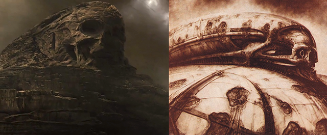 Design elements from Ridley Scott's Prometheus, and Jodorowsky's Dune