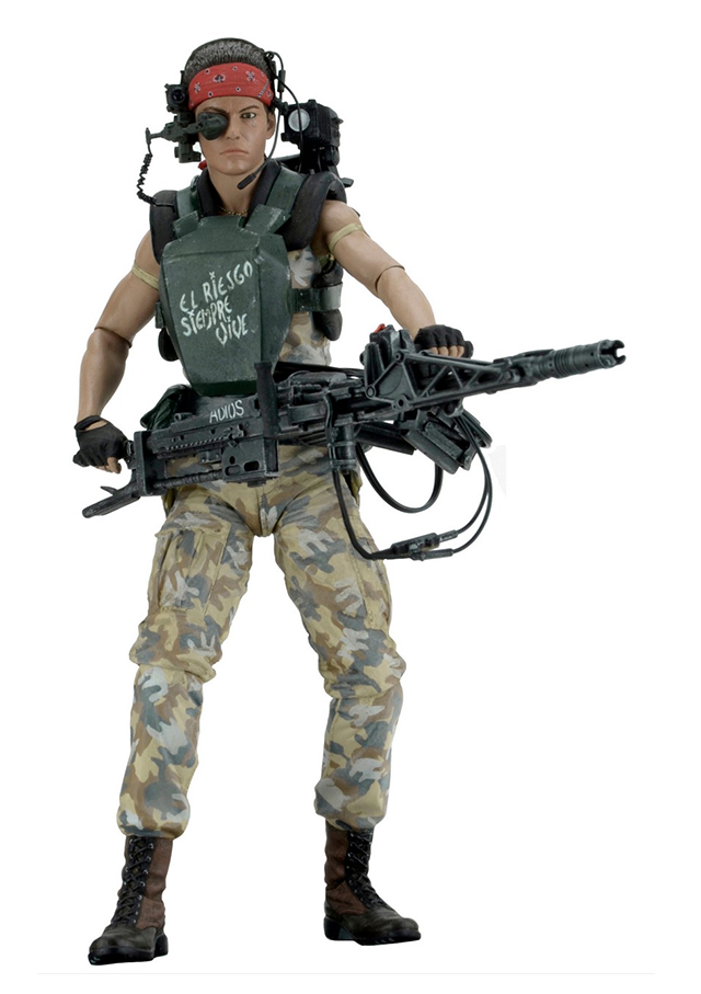 Action figure of Vasquez, a character from the sci-fi movie Aliens