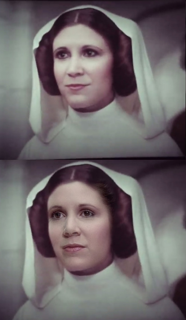 A comparison of Carrie Fisher and the CGI Leia from Rogue One: A Star Wars Story