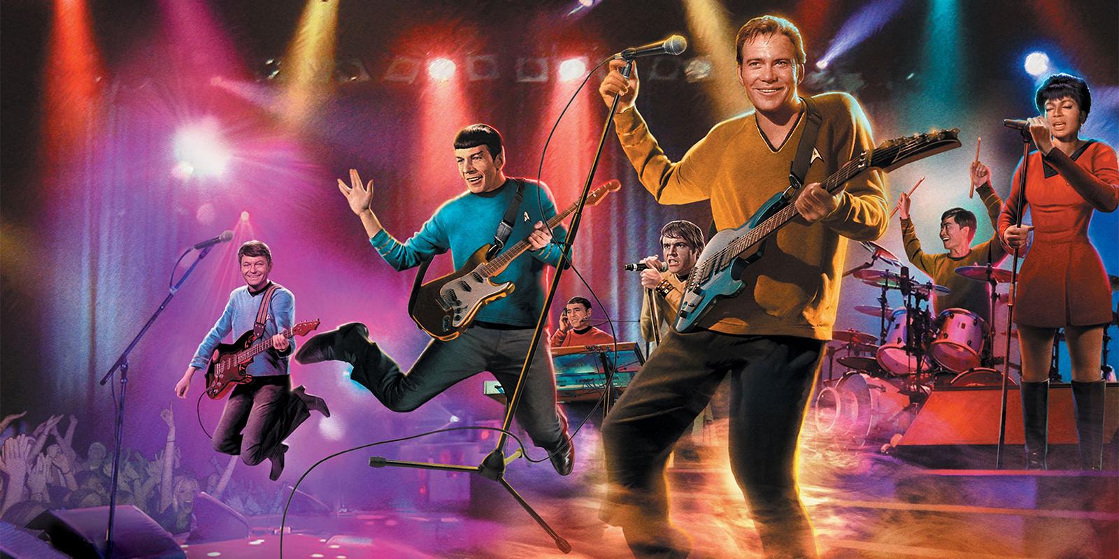 The crew of the Starship Enterprise, from Star Trek, in a rock band